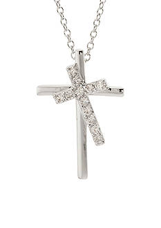 Belk Silverworks Double Cross Pendant Necklace Box Set