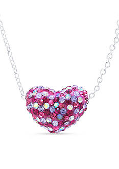 Belk Silverworks Fine Silver Plated 18-in. Multi Color Crystal Pave Heart Boxed Necklace