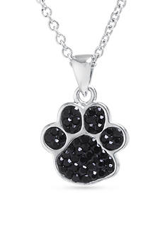 Belk Silverworks Fine Silver Plated Black Crystal Pave Paw Print Necklace