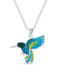 Belk Silverworks Fine Silver Plated Crystal Pave Hummingbird Boxed Necklace