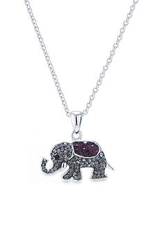 Belk Silverworks Fine Silver Plated 18-in. Boxed Crystal Pave Elephant Necklace