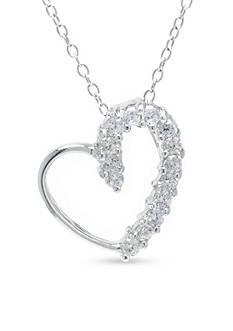 Belk Silverworks Open Heart Cubic Zirconia Pendant Boxed Necklace