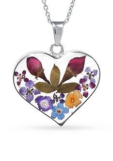 Belk Silverworks Fine Silver-Plated Dried Flowers Heart Pendant Boxed Necklace