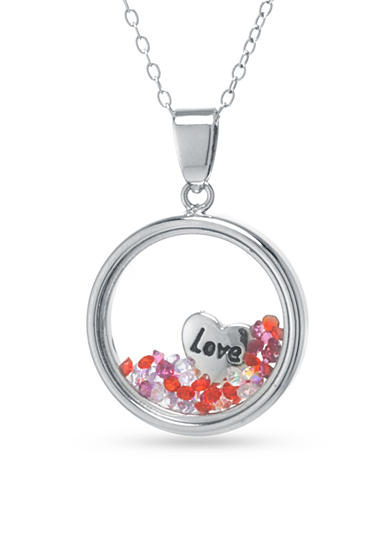 Belk Silverworks Sterling Silver Crystal and Heart Love Charm Pendant