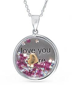 Belk Silverworks Sterling Silver Dancing Crystal Love You Pendant