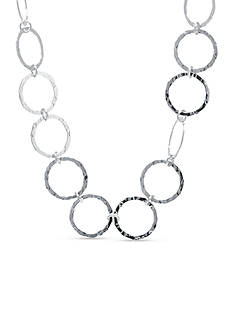 Belk Silverworks Fine Silver Plated Hammered Open Circle Collar Necklace