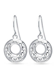 Belk Silverworks Round Open Filigree Drop Earring in Fine Silver Plate
