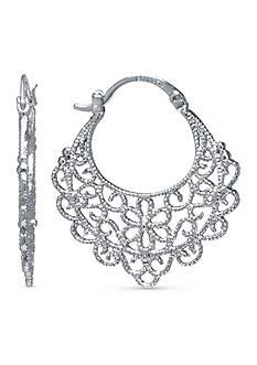 Belk Silverworks Fine Silver Plate Open Flower Filigree Click Top Hoop Earring