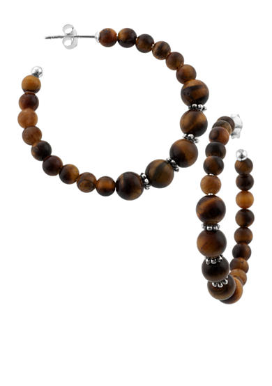 Belk Silverworks Tiger Eye Beaded Hoop Earrings