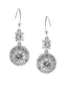 Belk Silverworks Cubic Zirconia Double Round Drop Earring