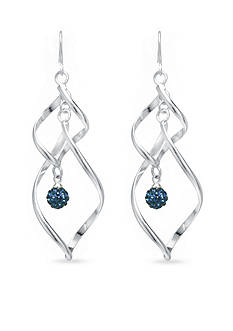 Belk Silverworks Fine Silver Plate Ribbon Twist Dark Blue Crystal Pave Ball Drop Earring
