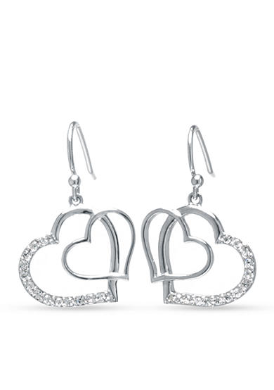 Belk Silverworks Crystal Heart Drop Earring