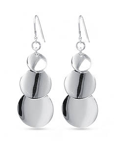 Belk Silverworks Triple Disc Drop Earring in Fine Silver Plate