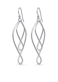 Belk Silverworks Double Twist Open Teardrop Earring in Fine Silver Plate