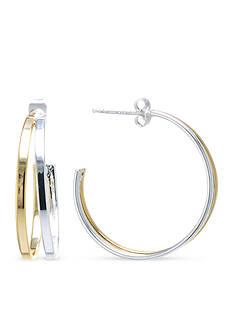 Belk Silverworks Two-Toned 30MM Double 3/4 Hoop Earrings
