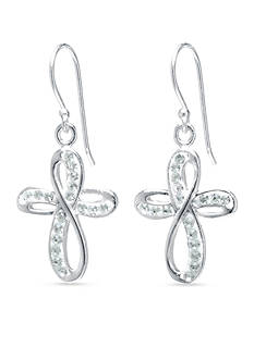Belk Silverworks Pave Crystal Infinity Cross Drop Earrings in Fine Silver Plate