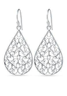 Belk Silverworks Fine Silver Plate Teardrop French Wire Drop Earring
