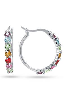 Belk Silverworks Silver Plated Swarovski® Crystal Hoop Earring