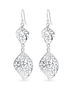 Belk Silverworks Geometric Filigree Double Drop Earring in Fine Silver Plate