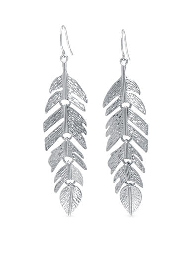 Belk Silverworks Textured Feather Drop Earring in Fine Silver Plate