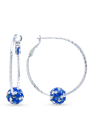 Belk Silverworks Silver Plated Hoop with a Blue and Clear Crystal Pave Ball