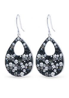 Belk Silverworks Silver Plated Crystal Teardrop with Cutout Earrings