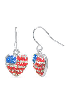 Belk Silverworks Silver Plated Flag Crystal Pave Heart Drop Earrings