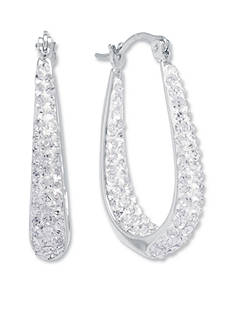 Belk Silverworks Fine Silver Plated Crystal Pave Inside-Out Oval Hoop Earrings