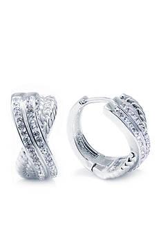 Belk Silverworks Fine Silver Plated Clear Crystal Pave Double X Huggie Hoop Earrings