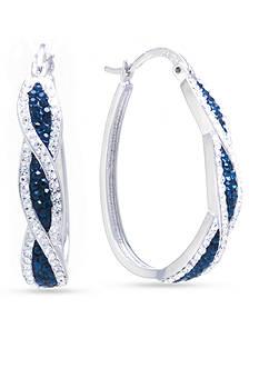 Belk Silverworks Fine Silver-Plated Dark Blue and Clear Crystal Pave Hoop Earrings