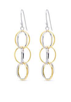 Belk Silverworks Two-Toned Interlock Multi Open Circle Drop Earrings