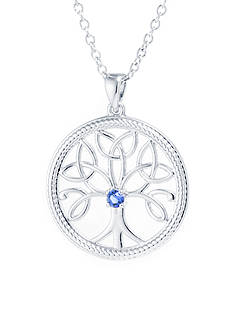 Belk Silverworks Fine Silver Plated 18-in. Blue Swarovski® Crystal Tree Of Life Necklace