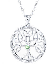 Belk Silverworks Fine Silver Plated Green Swarovski Crystal Tree Of Life Necklace