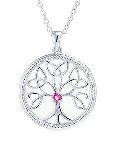 Belk Silverworks Fine Silver Plated 18-in. Pink Swarovski® Crystal Tree Of Life Necklace