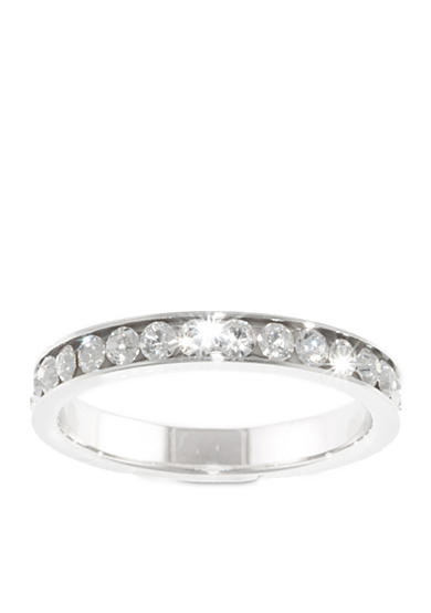 Belk Silverworks Fine Silver Plated Crystal Eternity Band Ring