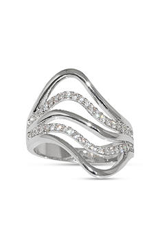 Belk Silverworks Fine Silver Plated Five Row Wave Ring with Cubic Zirconia-Size 10