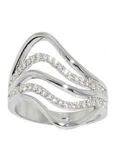 Belk Silverworks Fine Silver Plate Five Row Cubic Zirconia Swirl Ring
