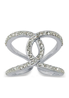 Belk Silverworks Fine Silver-Plated Pave Crystal Linked Ring
