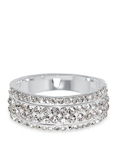 Belk Silverworks Fine Silver-Plated Pave Clear Crystal Eternity Band Ring