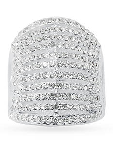 Belk Silverworks Fine Silver Plated Clear Crystal Pave 11 Row Layered Ring - Size 10