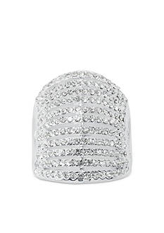Belk Silverworks Fine Silver Plated Crystal Stacked Ring