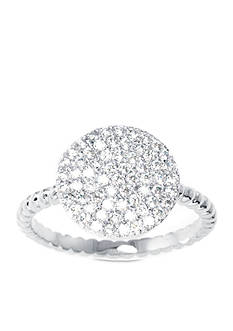 Belk Silverworks Fine Silver Plated Pave Cubic Zirconia Ring