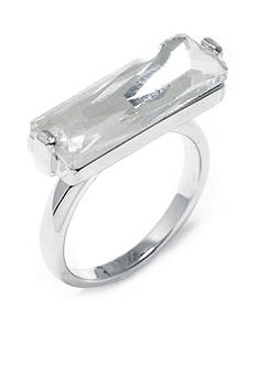 Belk Silverworks Fine Silver-Plate Horizontal Rectangle Clear Crystal Ring