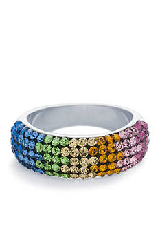 Belk Silverworks Fine Silver Plated Rainbow Crystal Ring