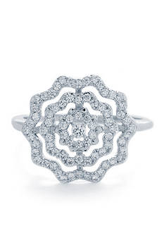 Belk Silverworks Fine Silver Plated Pave Flower Ring