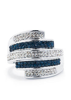 Belk Silverworks Fine Silver Plated Dark Blue And Clear Crystal Pave Multi Row Ring- Size 9