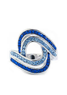 Belk Silverworks Fine Silver Plated Blue Crystal Pave Open Oval Curved Ring - Size 8