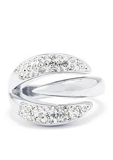 Belk Silverworks Fine Silver Plated Clear Crystal Pave Open Curve Ring - Size 8