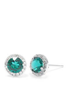 Belk Silverworks Sterling Silver Emerald Swarovski Crystal Halo Stud Earring