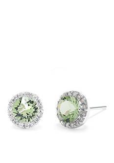 Belk Silverworks Sterling Silver Peridot Swarovski Crystal Halo Stud Earring